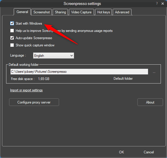 Screenshot of Screenpresso settings